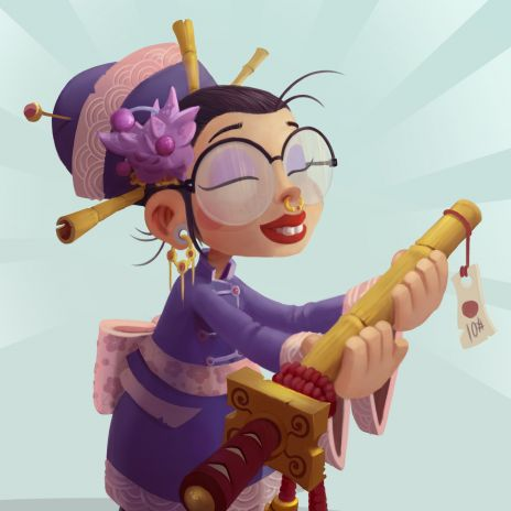 Cute Geisha with a katana in her hands